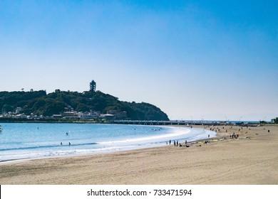 Marine Sports at Enoshima Katase Beach in Shonan Area, Kamakura City, Kanagawa Prefecture, Japan. On the Shonan coast, the coast in Kamakura city from Kanagawa prefecture Chigasaki city.