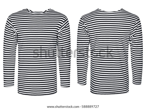Marine vest, striped shirt, isolated white background