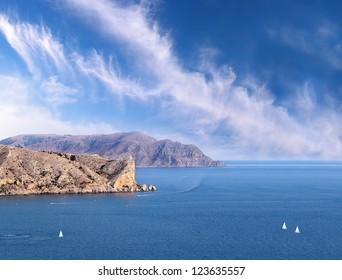 Marine view on rocks of Sudak, Crimea, Ukraine