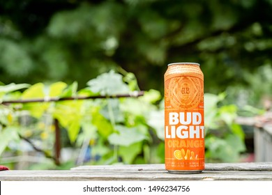 Marinette, WI / USA.- Feb 12, 2019: can of Bud Light beer, an American light beer. Bud Light is the top selling domestic beer in the United States.