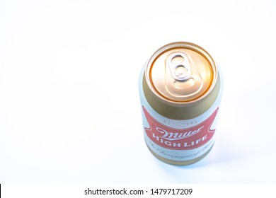 marinette, WI/ USA - February 5, 2019: Top can of Miller high life beer can be placed on a  table. a product of the Miller Brewing Company.