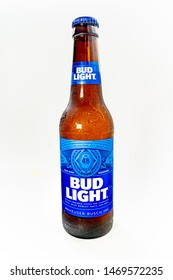 Marinette,WI/U.S.A.-Aug1,2019: Single bottle of Bud Light. Bud Light is the top selling domestic beer in the United States.