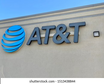Marinette,WI./USA.-Sep23,2019: The AT&T office sign at the company's offices.AT&T Mobility Wireless Retail Store. AT&T now offers IPTV, VoIP, Cell Phones and DirecTV