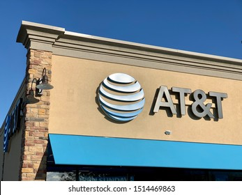 Marinette,WI./USA.-Sep23,2019: The AT&T office sign at the shop store. AT&T Mobility Wireless Retail Store. AT&T now offers IPTV, VoIP, Cell Phones and DirecTV