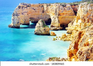 Marinha Beach,  located on the Atlantic coast in Portugal,Algarve.