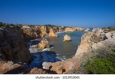 Marinha Beach, Praia Marinha, located on the south Atlantic coast in the region of  Algarve, Portugal.