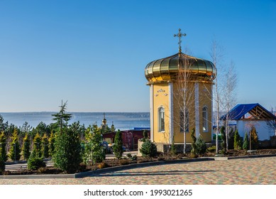 Marinovka village, Ukraine 02.01.2021. Holy Protection Skete of the Holy Dormition Odessa Monastery of the Odessa Diocese of the Ukrainian Orthodox Church on a sunny winter day