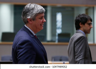 Mario Centeno , President of the Eurogroup attends an Eurogroup meeting at the EU headquarters in Brussels, Belgium on  May 24, 2018.