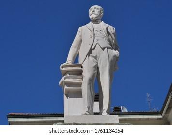 Mario Cermenati monument in Lecco, Lombardy, Italy