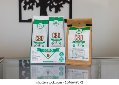 Marion - Circa March 2019: Green Roads CBD Coffee. The popularity of CBD oil as a medicinal product has skyrocketed I