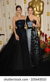 Marion Cotillard and Kate Winslet in the Press Room at the 81st Annual Academy Awards. Kodak Theatre, Hollywood, CA. 02-22-09