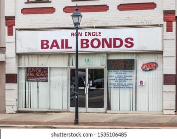 MARION, NC, USA-15 OCT 2019:  A Bail bondsmen's office store front.