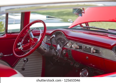 MARION, WI - SEPTEMBER 16: Interior of Red and white Chevy Bel Air car at the 3rd Annual Not Just Another Car Show on September 16, 2012 in Marion, Wisconsin.
