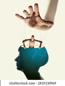 Marionette in human head. Concept of mind control. Image