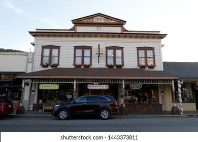 MARIPOSA, CALIFORNIA, USA -APRIL 2019: Beautiful old town Mariposa near Yosemite Valley, APRIL 23, 2019