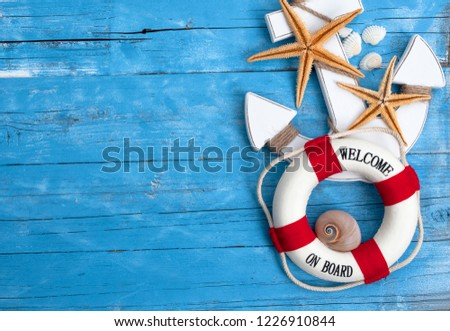 Maritime Decoration On Blue Natural Brown Stock Photo Edit Now