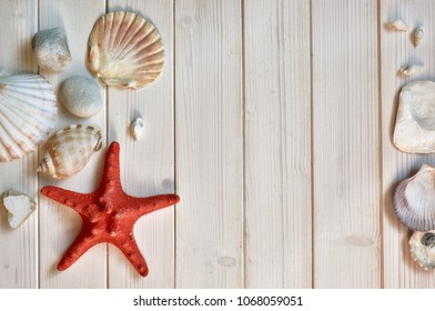 Maritime Decorations - stones, shells and knots - on light wooden planks. Overhead shot, text space