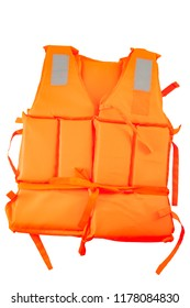 Maritime safety equipment, floatation device and water activities concept with an orange life jacket isolated on white background with a clip path cut out