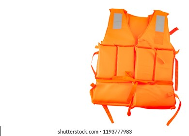 Maritime safety equipment, floatation device and water activities concept with an orange life jacket isolated on white background with a clipping path cutout with and copy space
