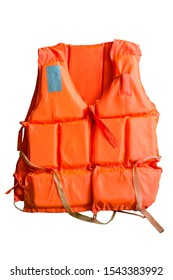 Maritime safety equipment, floatation device and water activities concept with an orange life jacket isolated on white background with a clip path a