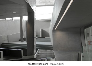 Maritime station designed by Zaha Hadid, Salerno, Italy, september 2017. Interior view of this great piece of contemporary architecture with its smooth curves and bright spaces.
