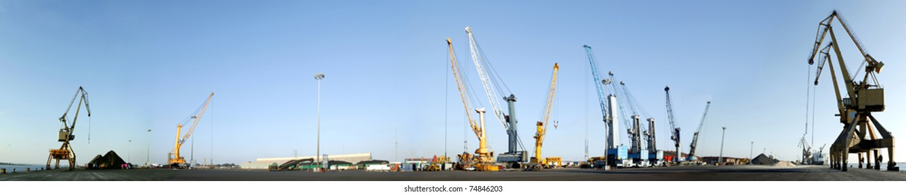 Maritime Terminal, panoramic .Cranes in a port.