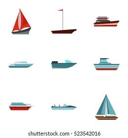 Maritime transport icons set. Flat illustration of 9 maritime transport  icons for web