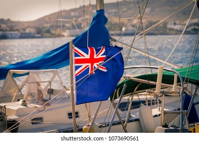 Maritime UK Flag. Close up the UK blue ensign british maritime flag flown from a yacht sail boat