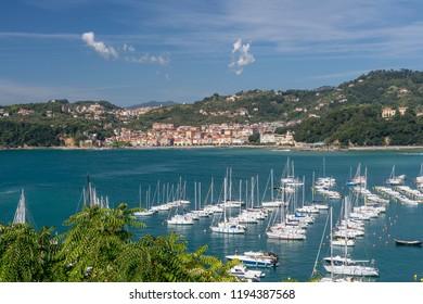 The maritime village of San Terenzo seen from the castle of Lerici, La Spezia, Liguria, Italy