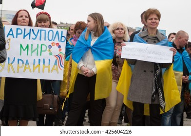 Mariupol, Ukraine - May, 03 2015. the public meeting for the demilitarization of Shirokino./meeting in Mariupol/Citizens of Mariupol