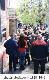 MARIUPOL, UKRAINE - May 11 2014: The queue at the polling station on the day of the referendum May 11, 2014 for the sovereignty of the People's Republic of Donetsk.