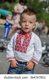 Mariupol, Ukraine - September, 19 2015. The Day of Mariupol. - On this day citizens of Mariupol demonstrate their national unity and patriotism. - Small boy wearing Ukrainian national vyshyvanka.