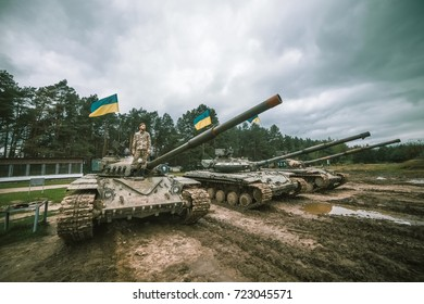MARIUPOL, UKRAINE September 24th, 2017: Ukrainian soldier stands on a tank