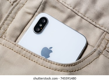 MARIUPOL,UKRAINE-30 OCTOBER,2017:New Iphone X smart phone model in close up.Newest Apple Iphone 10 mobile phone device.Dual vertical rear photo camera