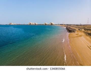 Marjan Island in emirate of Ras al Khaimah in the UAE aerial view
