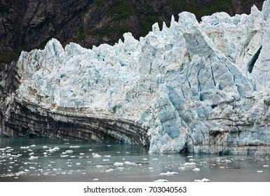 /Marjorie Glacier/Marjorie Glacier in Glacier Bay, Alaska, with large section beginning to split away (calving).