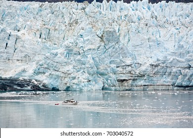 /Marjorie Glacier/Marjorie Glacier in Glacier Bay, Alaska. Small boat in foreground shows size.