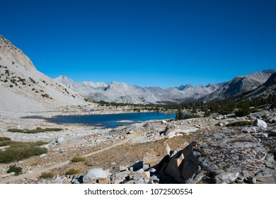 Marjorie Lake on the John Muir Trail in Kings Canyon National Park in the Sierra Nevada Mountains in California