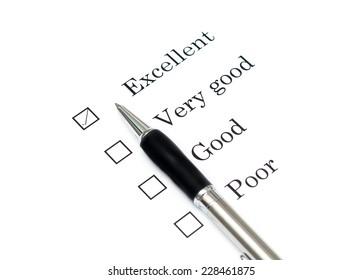 Mark Excellent with pen on survey paper document