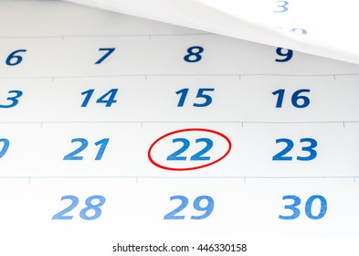 Mark on the calendar at 22 with red circle.