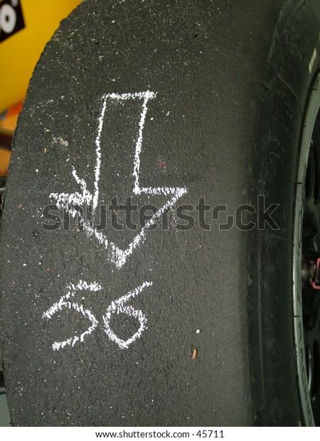 A mark on the tyre of a formula race car