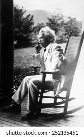 Mark Twain (aka Samuel L. Clemens) (1835-1910) at his home in Hannibal, Missouri, 1908