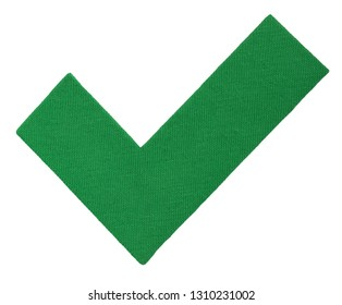 Mark V, tick of cotton fabric, green hook. Yes icon for your design. Handmade Approve sign isolated photo on white