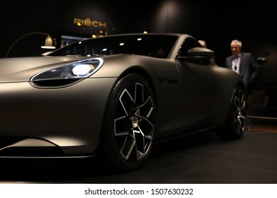 Piëch Mark Zero in Geneva International Motor Show (GIMS), Geneva Switzerland March 2019. Electric sports car with 610 horsepower. Beautiful modern and luxurious car in a closeup. Color image.