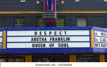 """Markee sign in honor of the late Aretha Franklin stating """"RESPECT, Aretha Franklin, Queen of Soul""""; The Magic Bag Theater, Ferndale, Michigan, USA, Saturday, August 19, 2018."""