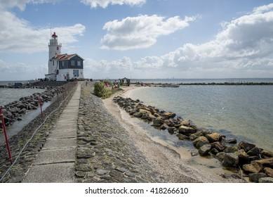 MARKEN, NETHERLANDS - APRIL 19, 2016:  Paard van Marken Lighthouse