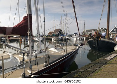 MARKEN - NETHERLANDS - MAY 12, 2017:  Port of the village of Marken in the municipality of Waterland  in the Netherlands. Marken forms a peninsula in the Markermeer