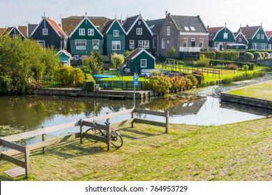 Marken, North Holland, Netherlands. Beautiful typical fisherman village houses in Marken island Waterland, Netherlands.
