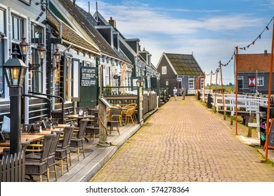 Marken, North Holland, the Netherlands - November 22, 2016 : Cafes and restaurants in the small traditional harbour village and island of Marken in North Holland