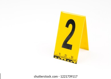 Marker of Crime Scene, Number 2 on white background.